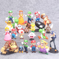 Wholesale Vinyl 24 - 24 PCS Super Mario Vario Yoshi Figures Vinyl Dolls Model PVC Toys Dolls Mario Luigi Wholesale New Game Anime Movie