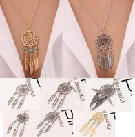 Wholesale Necklace Feathers Gold Long - Hot dream catcher statement necklaces dreamcatcher antique silver gold Turquoise wings feather long pendant necklaces for women 6 styles