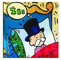 Wholesale Hand Painted Ideas - Framed Alec monopoly sleeping idea,High Quality genuine Hand Painted Wall Decor Cartoon & Graffiti Pop Art Oil Painting On Canvas Multi size