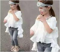 Wholesale Chiffon Kids Ruffle Tops - 2016 New Cute Girls White Shirts Dress Kids Cotton Long Shirt Blouses Fashion Girl Short Sleeve Tops Baby Girl Ruffle T-shirts 5pcs lot