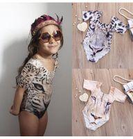 cartoon tigre grátis venda por atacado-New children 3D Tiger impressão One-Pieces Swimwear Baby swimsuit cartoon kids Biquinis Frete grátis BH2124