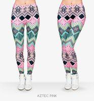 Wholesale Punk Leggings Stretchy - New Fashion Aztec Printing legins Punk Women's Legging Stretchy Trousers Casual Slim fit Pants Leggings