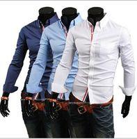 Wholesale big breast size - New Fashion Spring Autumn Hot Men Shirt Long Sleeve Solid colors men shirts casual Camisa multi color big size Slim shirt men M-3XL