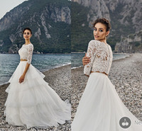 Wholesale Long Layered Skirts - Two Pieces Wedding Dresses With Lace Top Layered Organza Skirts With Long Sleeves Hollow 2016 Spring Garden Beach Wedding Gowns