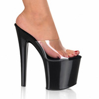 Wholesale Open Toe Transparent Shoes - White Simple Belt Transparent Platform Open Toe 20cm Ultra High Heels Slippers 8 Inch Sexy Party Crystal Shoes