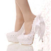 Wholesale shoes high platform sequin - White Lace and Glitter Bride Shoes Round Toe Ribbon Bow Wedding Shoes High Heel Platform Women Party Dress Shoes Bridesmaid Pump