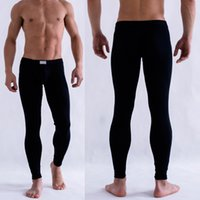 Wholesale Low Rise Long Johns - Wholesale-Cheap&High Quality Men's Solid Color Underpants Long Johns Pants Thermal Low Rise Warm Underwear M L XL TQ