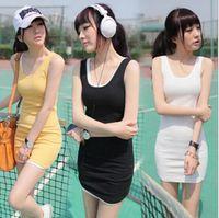 Wholesale Women Fashionable Mini Dresses - 2016 Women sexy Dress Summer Dress chiffon Women Dress Summer style Sundress casual for ladies fashionable Slim tank dress