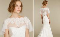 Wholesale Elegant Wedding Bolero - Perfect White Lace Jewel Neck Bridal Wraps Jackets Bolero Organza Half Sleeves Elegant Bridal Accessories Free Shipping Wedding Shawl