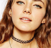 Wholesale Collares Vintage Retro - Collares Vintage Stretch Tattoo Choker Necklace Punk Retro Gothic Elastic Pendants Necklaces for Women Lady LeonThe Professional Collares