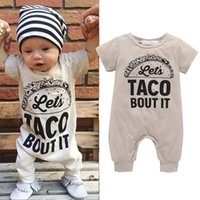 Wholesale Cheap Boutique Kids - Toddler Boy Girl Rompers Short Sleeve Fashion Letter Jumpsuit Cotton Coverall Bodysuit for Newborns Boutique Cheap Kids Clothes Summer