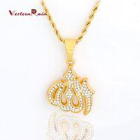 Wholesale Singapore Diamonds - WesternRain Muslim totem pendant and transparent diamond jewelry necklace for men and women long necklace statement 45CM  75CM Necklace F813