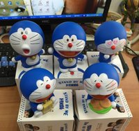 5pcs / set Anime Cartoon Cute Doraemon 5 поколения Pokonyan Anniversary PVC Action Figure Коллекционная модель Toy Doll Kids Gif