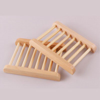 Wholesale wholesale wood soap dish - 300pcs Natural Wood Soap Dish Wooden Soap Tray Holder Storage Soap Rack Plate Box Container for Bath Shower Plate Bathroom