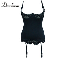 Wholesale Sexy Women Knitted Lingerie - Wholesale-Dear lovers Plus Size Black Knit Bustier with Lace Wired Cups LC1205 Sexy underwear women night Lingerie with garter belt