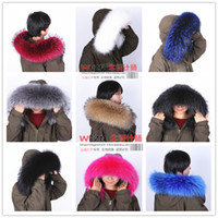 Wholesale Led Leather Jacket - free shipping100% real fur Big raccoon fur collar Down jacket fur collar article cap cap led collars fox fur collar woolen scarf