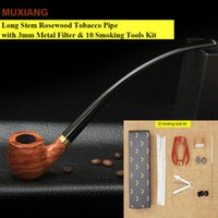 Wholesale Tobacco Stems - Long Stem Classic Rosewood Smoking Pipe with 3mm Metal Filter Wooden Tobacco Pipe Lord of the Rings OEM Smoking Pipe ad0008