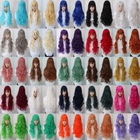 Wholesale Long Curly Blonde Pink Wigs - Free Shipping 80cm Synthetic Hair Long Curly White Blonde Pink Red Blue Brown Cosplay Wig Perruque
