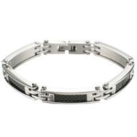 Wholesale Mens Stainless Steel Black Bracelets - Special Offer Cool Mens Stainless Steel Bracelet Inlay Black Carbon Fiber Link Bracelet 8 inches On Sale