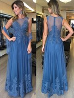 Wholesale Lace Bodice Special Occasion Dresses - 2017 Elegant Navy Blue Tulle Formal Evening Dresses With Wrap Lace Beaded Sheer Bodice Long Prom Event Wears Special Occasion Gowns