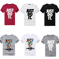 Wholesale Cotton Fashion Clothing - New Fashion Men's Fashion Clothing Short Sleeve T Shrits With Letter Just Do it Print Hip Hop Men Streetwear Asian Size Run Small M-XXXL