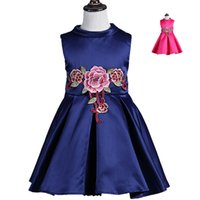 Wholesale flower child prom dresses online - 2016 baby girls fashion dress sleeveless girl s party princess dresses with big flower children prom skirts kids boutiques