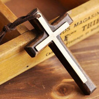 Wholesale Wholesale Men Leather Sweaters - Double wooden cross pendant necklace vintage alloy leather cord sweater chain men women jewelry lovers stylish 12pcs