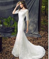 Wholesale China Gowns Online - 2016 Wedding Dresses Simple Vestidos de Novia Online Sexy Mermaid Wedding Gowns Full Lace Elegant Wedding Dresses High Quality Gowns China