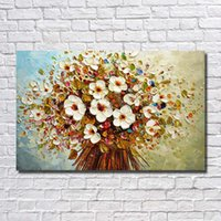 Wholesale knife flower painting - Flower Painting Wall Art Home Decoration Abstract Modern Oil Painting for Living Room Decoration Hand Painted Knife Oil Painting on Canvas