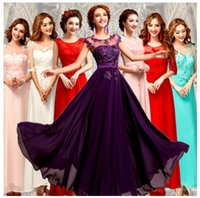 Wholesale Chiffon Pleated Gauze Dress - Hot Selling Purple Lilac Lavender Bridesmaid Dresses Lace Chiffon Embroidery beaded gauze Wedding Party Dresses Plus SIZE Evening Dresses