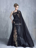 Wholesale Evening Tony - 2017 Tony Chaaya Mermaid Evening Dresses Sexy Black Lace Appliques Prom Gowns With Cape Illusion Tulle Beaded Applique Celebrity Formal Wear