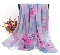 Wholesale vintage chiffon scarves resale online - New Vintage chiffon Silk Scarf Flowers Pattern Neckerchiefs CM CM