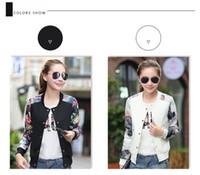 Wholesale women plus size baseball jacket - Brand Tops 2016 Flower Print Girl Plus Size Casual Baseball Jacket Women Sweatshirts Button Thin Bomber Jacket Long Sleeves Coat