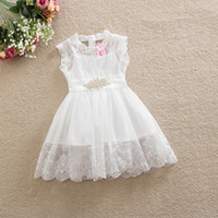 Wholesale Sheath Wedding Dresses Rhinestones - Baby girl's princess dress white color children lace skirts with rhinestone belt kids girl wedding dress flower girls dresses