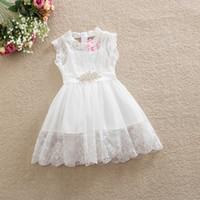ingrosso cinture di fiori per bambini-La principessa della neonata si veste di gonne di pizzo per bambini di colore bianco con cintura di strass per bambini vestiti da ragazze di fiori
