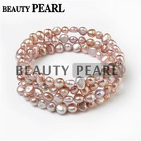 Wholesale Nugget Jewelry - 6-7mm Nugget Light Purple Freshwater Cultured Pearls Handmade Bangle Women Bracelet Bridal Wedding Jewelry Perfect Gift