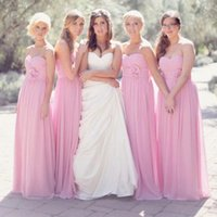 Wholesale flowered chiffon gowns resale online - Cheap Pink Simple Vintage Bridesmaid Dresses Summer Beach Long Chiffon With Flowers Wedding Party Dress Maid Of Honor Gowns Under