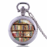 Wholesale Vintage Jewelry Book - Vintage Books Pocket Watch Living Locket Necklaces Style Retro Vintage library Pocket Watch Necklace Books jewelry