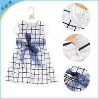 Wholesale Baby Girl Dress Check - 2016 summer new children's clothing check cotton dress girls dress cute sweet blue baby kids A line dresses