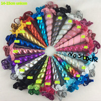 20Pcs / Lot Unicorn Headband Girls And Kids Glitter Металлические войлочные рожки Unicorn Shimmery Glitter Headband Hairbow Head Headwear