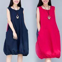 Wholesale Flax M Dress - Women Linen Loose Vest Dresses Summer Plus Size Solid Lady Sleeveless Long Flax Tunic Vest dress