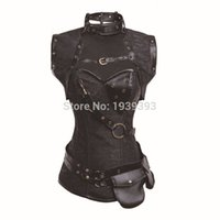 Wholesale Latex Women S Clothing - Wholesale-Latex Gothic Clothing Sexy Brown Steel Bone Corset Steampunk Waist Training Corsets And BustiersTop Women Corpetes E Espartilhos