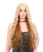 Wholesale Synthetic Front Hair - Recommending Long Curly Hair Wigs Heat Safe Synthetic Wigs Swiss Lace Front Wig Brown Mixed Blonde Color As the Picture Show