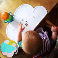 Wholesale Children Mats - Wholesale- Cute Cloud Shape Silicone Placemat Baby Kids Dining Table Mats Cloud Table Decoration Placemats For Children