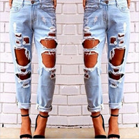 Wholesale Hug Me Women The big hole Jeans Pants New Lady Fashion Tassel Hole Vintage Tie Dye BB