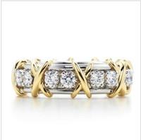 anel prata x venda por atacado-T Marca X Forma SONA Diamante Sintético Stallone Anel Coração e Arrows Noivado Ou Casamento Genuine Sterling Silver Platinadas Anel Para