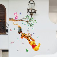 Wholesale Wholesale Tiger Wall Decals - Home Decor Cartoon Home Decoration Wall Stickers For Kids Rooms Wall Decals Winnie The Pooh Tiger Playing