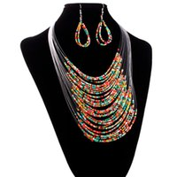Wholesale Jewelry Multicolor Multi layer Resin Beads Necklaces and Earrings Set Amazing Mar