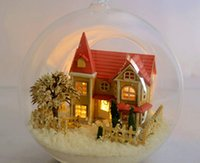 Wholesale Dollhouse Miniature Diy Kits - Wholesale Dream House miniature dollhouse glass DIY mini home glass ball hand doll house With LED lights diy toy kit diy handmade hut kit