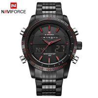 Wholesale Men S Watch Dual Time - Naviforce 2017 New Luxury Brand Dual Time Clock Fashion Full Stainless Steel Men 'S Watch Army Male Sport Wristwatch Waterproof